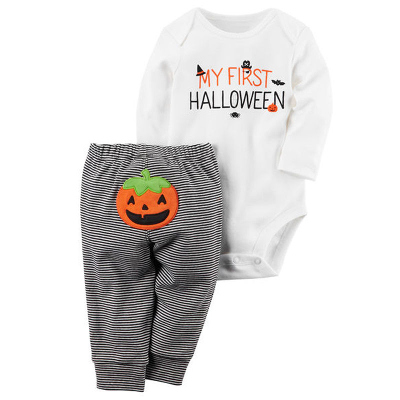 Toddler Baby Boy Girl Halloween White Full Sleeve Romper Jumpsuit Striped Pumpkin Pattern Striped Pants Outfit Baggy Costume картридж hp 932xl cn053ae black