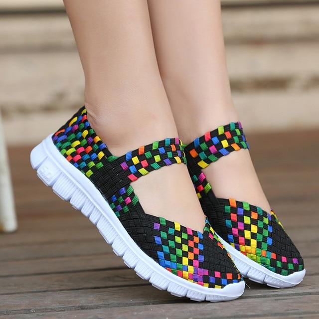 2019 אביב קיץ חדש עור נשים נעליים מקרית שטוחות נעליים שטוחות לנשימה גבירותיי סנדלי Zapatos Mujer