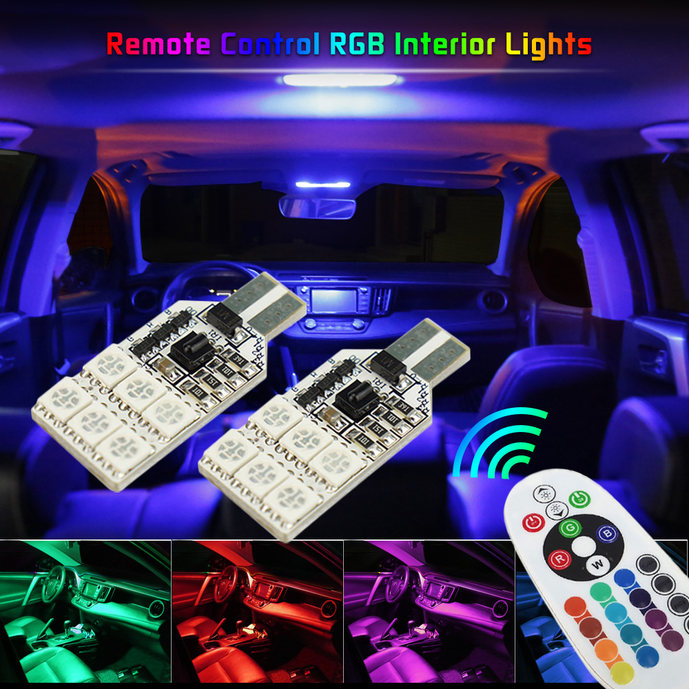 2x RGB W5W <font><b>T10</b></font> <font><b>LED</b></font> <font><b>Bulb</b></font> <font><b>Car</b></font> Interior Clearance Lights For Mitsubishi Lancer 10 9 ASX Pajero Sport L200 For Mazda 3 5 6 CX-5 323 image