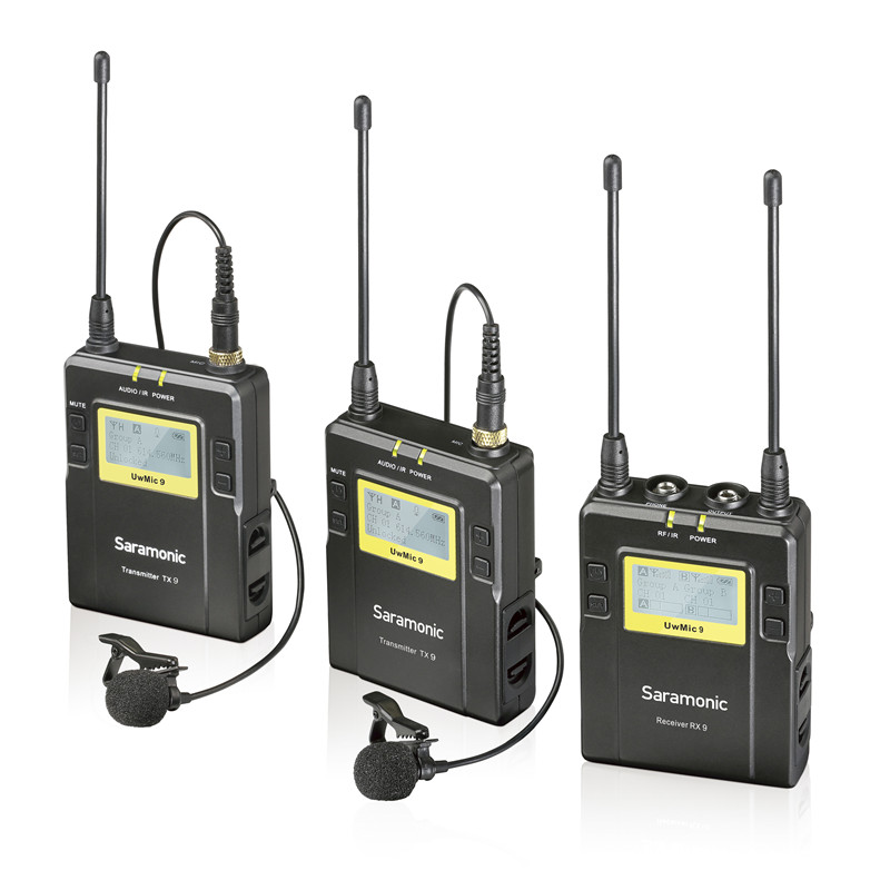 Saramonic UWMIC9 Broadcast UHF Camera Wireless Lavalier Microphone System Transmitters and Receivers for DSLR Camera Camcorder