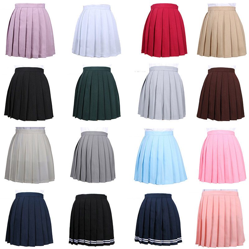 Women Cosplay Pleated Skirt Girl School Uniform Skirt Solid High Waist Skirt Mini Skirts(China)