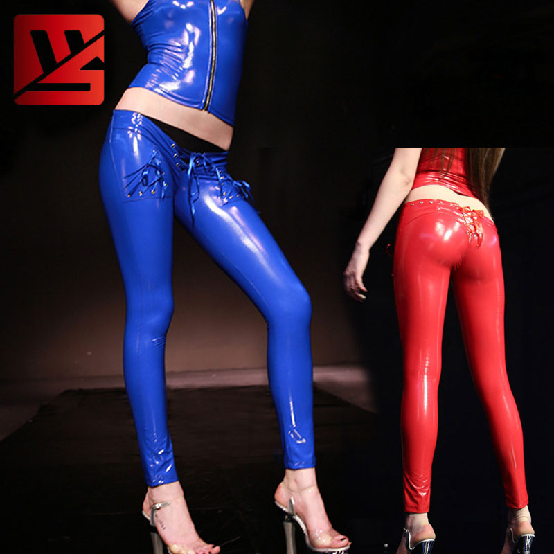 Sexy Women PVC Shiny Lace Up Low Rise Pencil   Pants   Low Waist Leggings Casual   Pants     Capris   Moto & Biker Stage Wear Plus Size F120