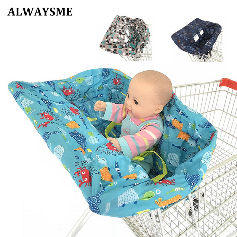ALWAYSME Universal Fit Baby Kids 2-in-1 Shopping Cart Cover High Chair Cover For Toddler Cover Restaurant Highchair Dinosaurs