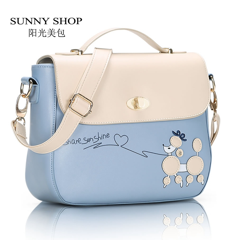 SUNNY SHOP Spring Fashion Small Women Messenger Bags Fresh Students Girls Shoulder Bags candy colour Lady Bag with Dog Cartoon new woman shoulder bags cute canvas women big bags literature and art cartoon girls small fresh bags casual tote
