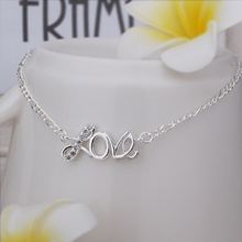 Wholesale Free Shipping silver plated Anklets,silver plated Fashion Jewelry Love Anklets SMTA001