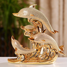 Fashionable Gold Dolphin Ceramic Handicraft Furnishing Articles Creative Gold-plated Dolphin Family(China)