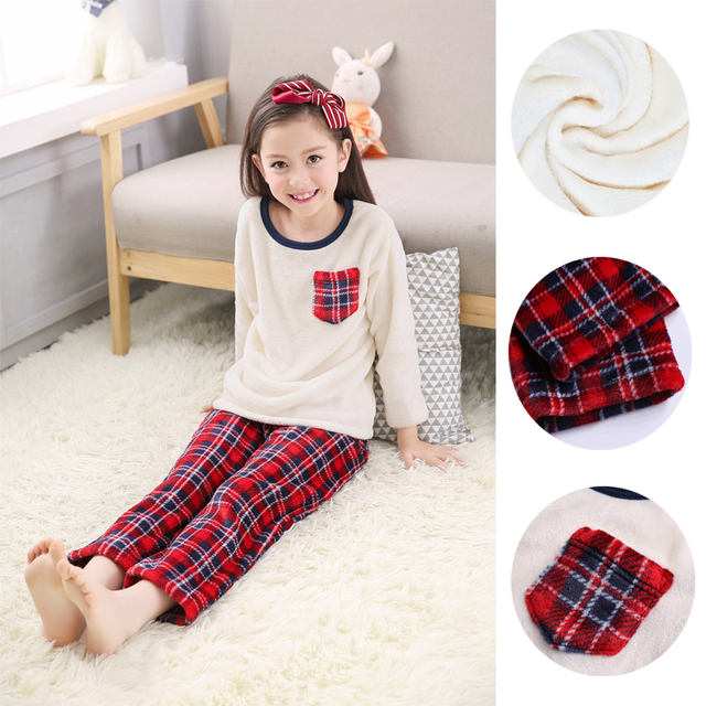 2017 Hot Sale Children Coral Fleece Sleepwear Homewear Pajamas Unisex Plaid Flannel Pajama Set Winter Warm Bathrobe Nightgown