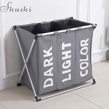SHUSHI складной для стирки грязной одежды корзина Три Сетки Ванная комната корзина для белья Организатор офис металлическая корзина для хранения