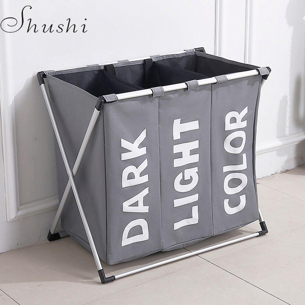 SHUSHI plegable ropa sucia lavandería cesta tres de baño cesta de lavandería organizador de oficina de metal cesta de almacenamiento