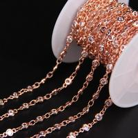 4mm,Zircon Faceted Round Flat beaded Rosary Chain,White Cubic Zircon Crystal Rose Gold Chain,CZ Charms Earring Bracelet Necklace