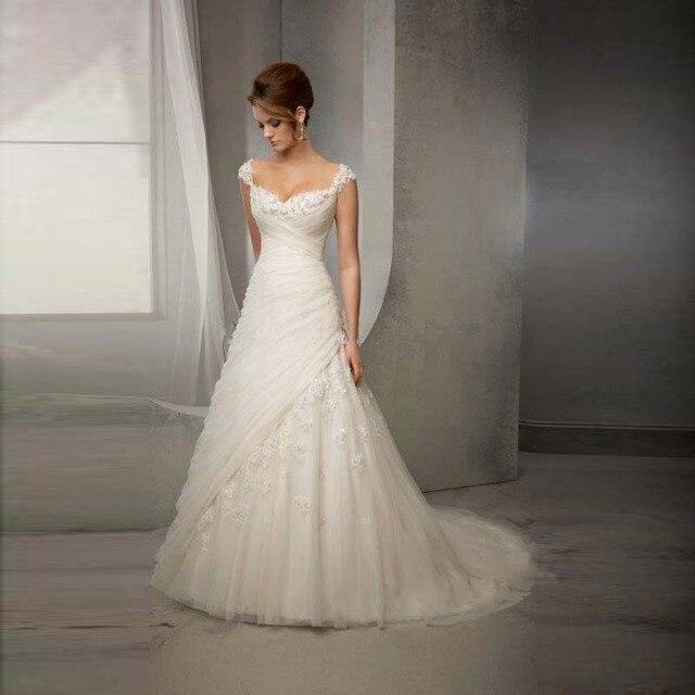 2016 Hot Sale Robe de Mariee Elegant A Line Wedding Dresses Sweetheart Vintage Wedding Dresses Floor Length Bridal Gown