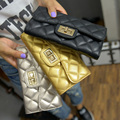 turn lock wallet 2016 new Ladies Dress hand bag Embroidered Purse Handbag line lattice
