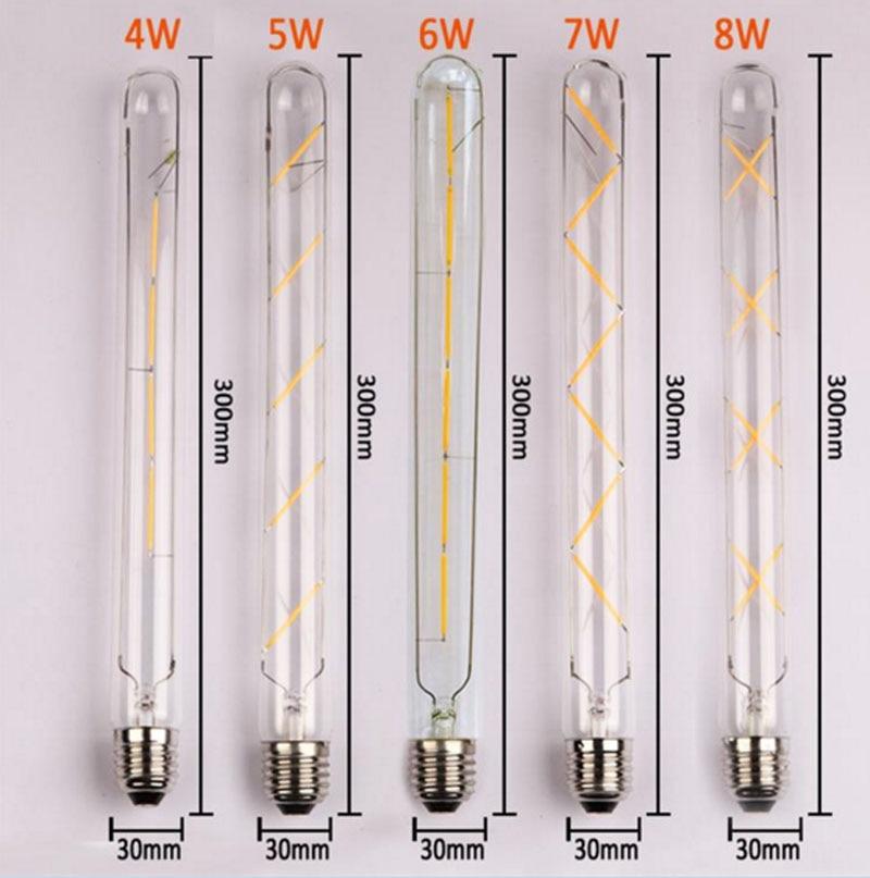 5PCS E27 Led Bulb 4W 5W 6W 7W 8W Vintage Edison AC 220V T30 COB LED Filament Light Retro Bulb