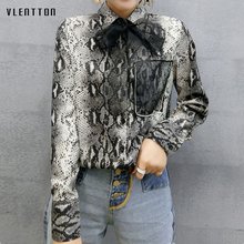 2019 New Vintage Womens Blouses Single Breasted Bow Mesh Women Shirts Spring autumn Leopard Blouse Female size2XL