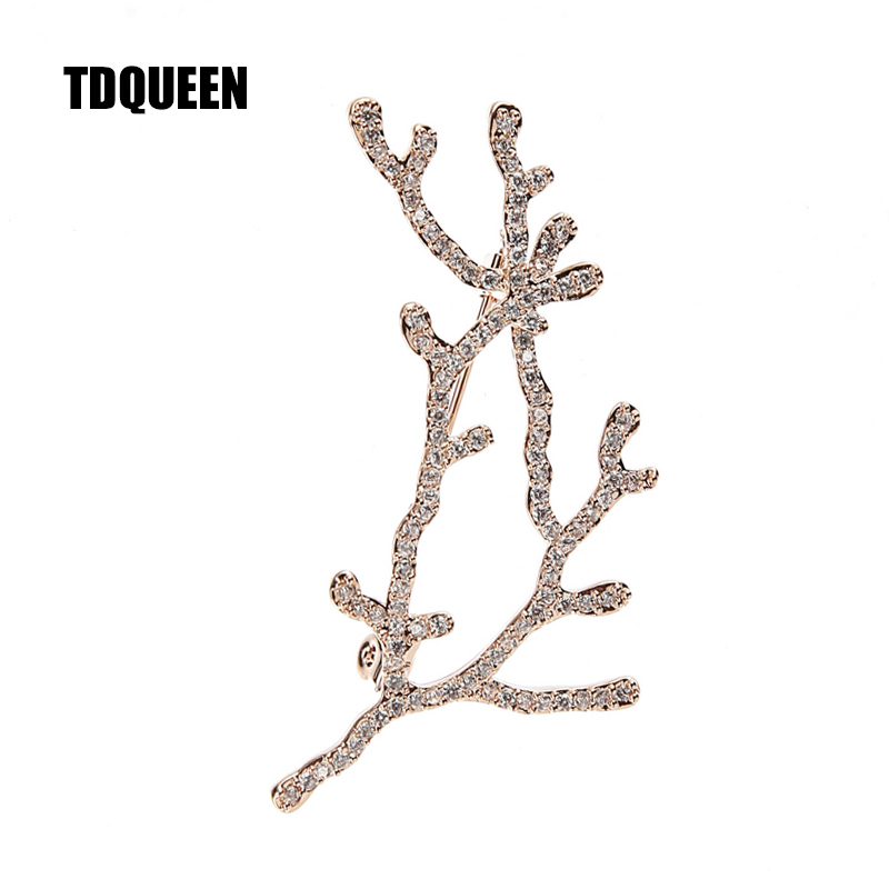 TDQUEEN Brooches Micro Pave CZ Crystal Rhinestone Antlers Pins and Brooches Safety Pin Jewelry Brooch Christmas Gift for Women