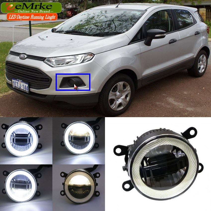 eeMrke 3 in 1 LED DRL Angel Eye Fog Lamp For Ford EcoSport 2013 - up Car Styling High Power Daytime Running Lights Accessory eemrke for toyota vios yaris belta 2007 2013 led angel eye drl daytime running light halogen yellow h11 55w fog lights