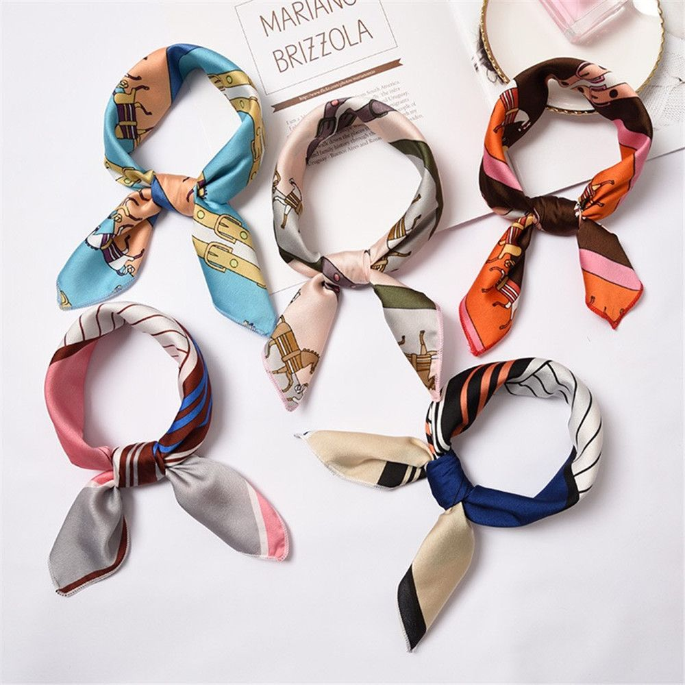 2020 New Women Silk Scarf Square Scarf Lady's Silk Feel Satin Neck Hair Scarves Head Hair Tie Fashion Girl Hair Scarfs 50*50cm