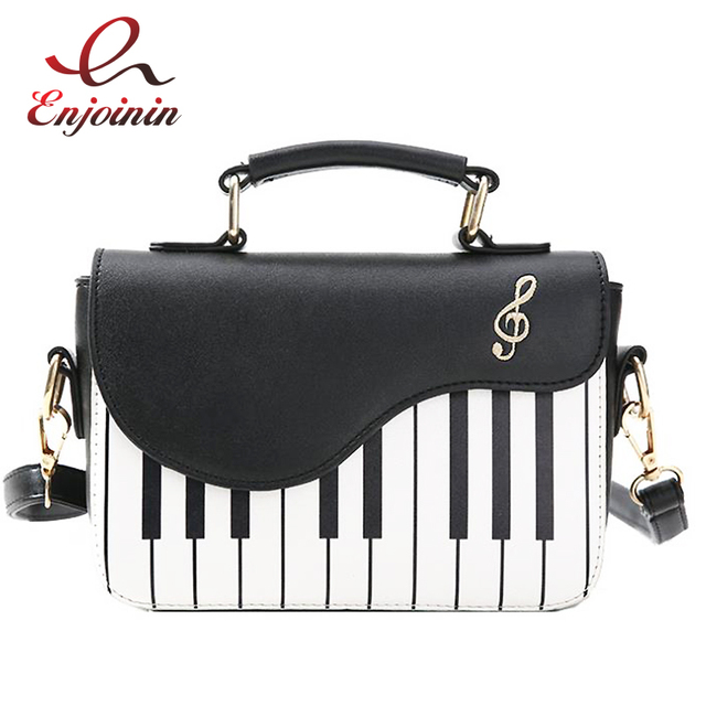 Cute Piano Pattern Fashion Pu Leather Casual Ladies Handbag Shoulder Bag  Crossbody Messenger Bag Pouch Totes Women s Flap 5dfd9c64b55e9