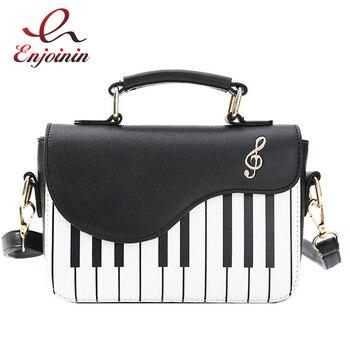 Lindo patrón de piano de moda de cuero de Pu cartera informal para mujer bolso bandolera cruzada bolsa bolsas de mujer solapa
