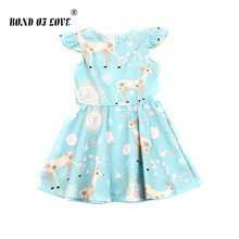 Kid Lace Girl Dress For Wedding Evening Party Girl Costume Princess Dress Girl Summer Clothes Deer Floral Print Sleeveless Dress