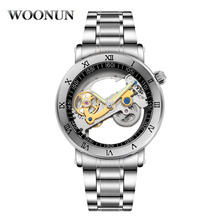 цена Fashion Hollow Transparent Watches Men Mechanical Watches Stainless Steel Automatic Mechanical Watches Men Tourbillon Watches онлайн в 2017 году