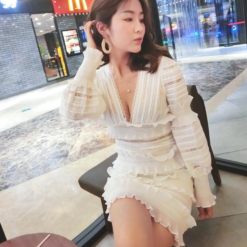 2019 nouvelle mode de haute qualité piste de luxe blanc dentelle robe femmes à manches longues Sexy col en v robe de soirée vestidos livraison gratuite