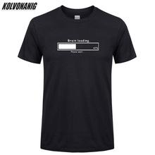 KOLVONANIG Summer 2019 Brand Man Clothes Brain Loading Gamer Computer Geek Printed T Shirt Men Oversized Cotton Tee-Shirts Top