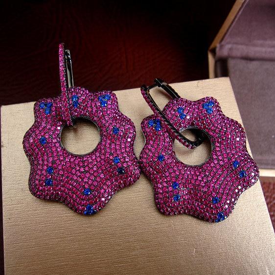 Luxury micro pave setting AAA hot pink stones heavy long drop earrings dress patry accessaries,E1541 hot pink swing tank dress