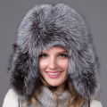 Bomber leather hat with fashion high quality real Sheepskin crownsEar protection cover winter female fox fur hat