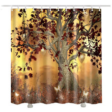 Tree Shower Curtain For The Bathroom 3D Waterproof Leaf Take A Fall Autumn Cortina Ducha