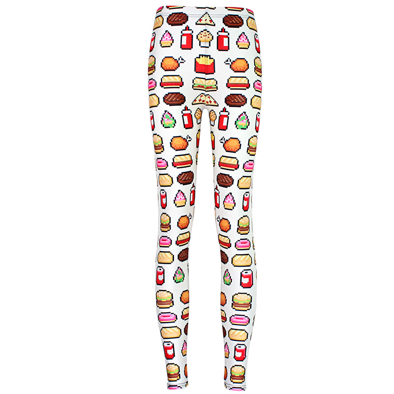 New Arrival 3483 Sexy Girl Women hamburger chips Junk food White 3D Prints Elastic font b