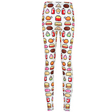 New Arrival 3483 Sexy Girl Women hamburger chips Junk food White 3D Prints Elastic Fitness Polyester Walking Leggings Pants
