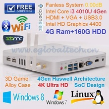 Latest Smart Computer 4GB DDR3L 160GB HDD With Wifi Fanless PC Intel Core i3 4010U Mini PC HTPC Full 4k HD Desktop Computer(China (Mainland))