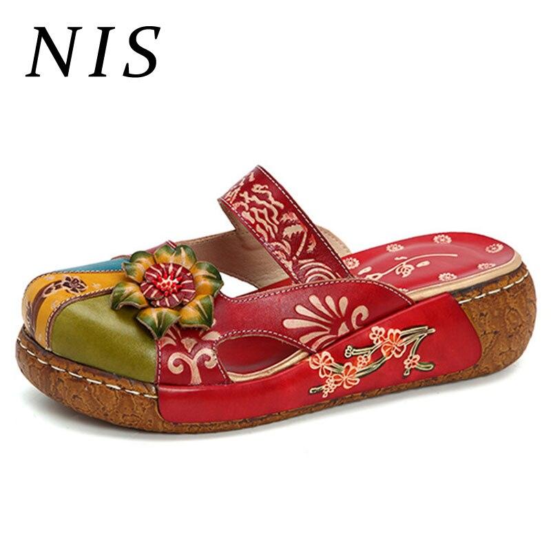 NIS Vintage Bohemian Slippers Women Shoes Summer Round Toe Slides Genuine Leather Ladies Shoes Woman Platform
