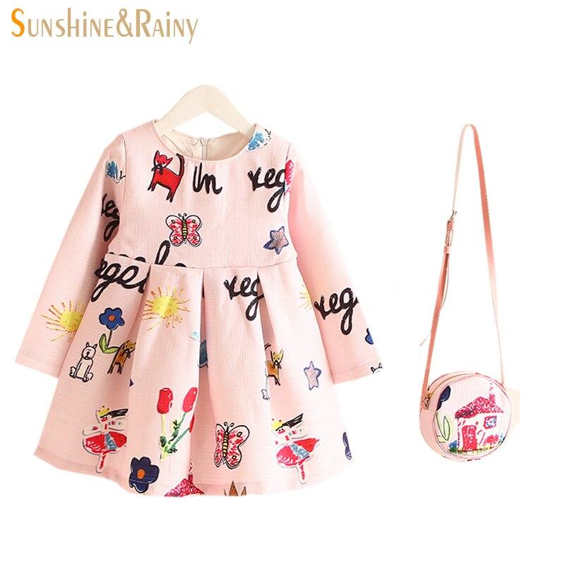 2017 Spring Autumn Flower Kids Brand Design Dresses For Girls Princess Costume Robe Fille Rapunzel Graffiti Children Vestidos радар детектор intego grand prix gold
