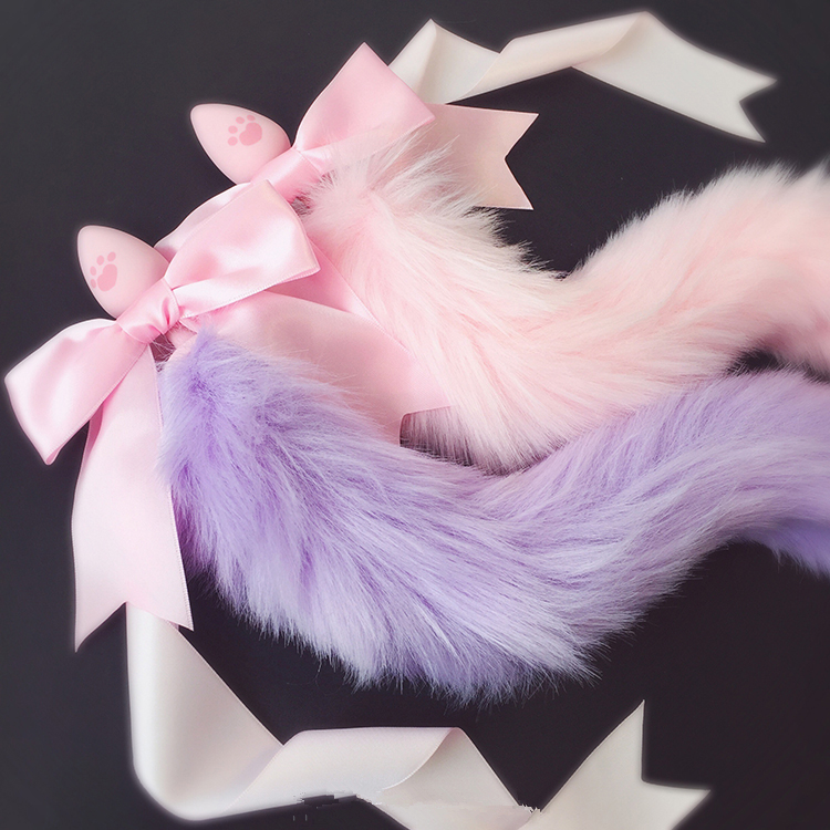 100%Handmade Lovely Japanese Soft Fox Tail Bow Silicone Butt Anal Plug Erotic Cosplay Accessories Adult Sex Toys for Couples