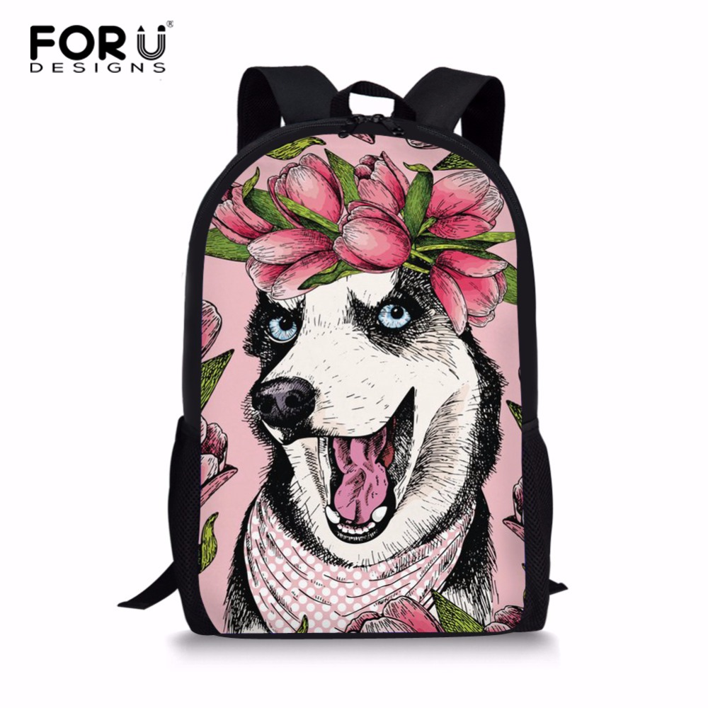 FORUDESIGNS Husky Pattern Children School Bags 3D Animal Printed Bookbags For Primary School Satchel Girls Shoulder Schoolbag