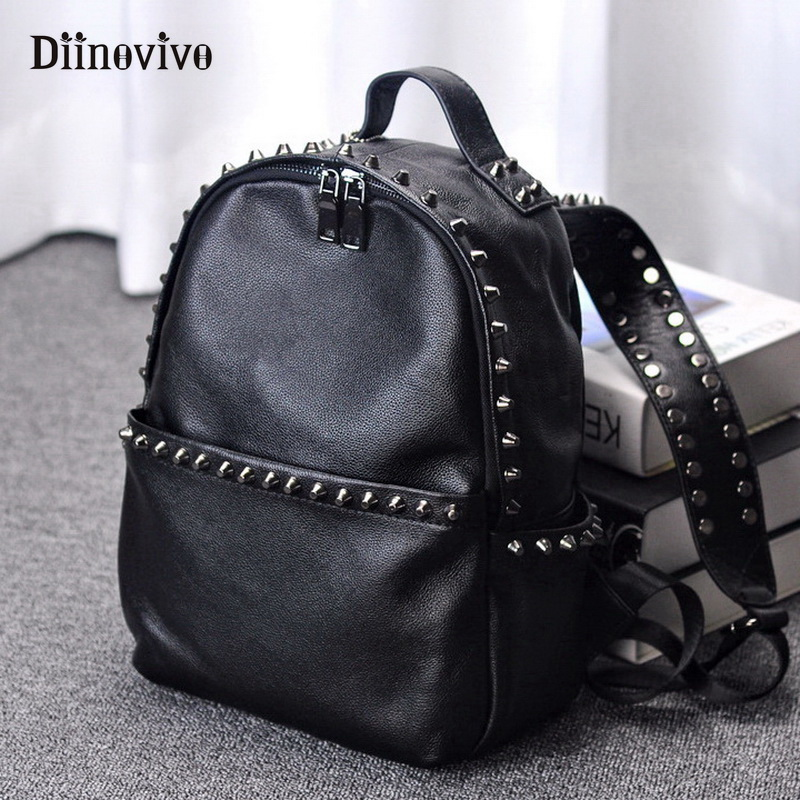 DIINOVIVO Brand Women Backpack Leather School Bags Mochilas Feminina Bolsas Mujer Backpacks Rugzak Back Pack Bag 2018 WHDV0598