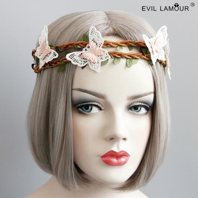 Spring Summer Hawaii Beach Hairband Girl Butterfly Rattan Headband