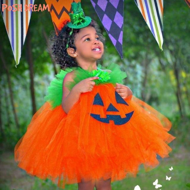 9e4e14789799 POSH DREAM Pumpkin Cosplay Kids Girls Tutu Dress Infant Toddler Pumpkin  Costume Pumpkin Orange Green Children Girls Clothes