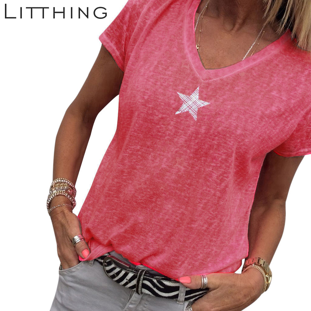 LITTHING Plus Size 5XL Star Printed T-  shirt   Women Summer Short Sleeve Yellow 65% Cotton Tee   Shirt   Tops Sexy V Neck Tee Tops