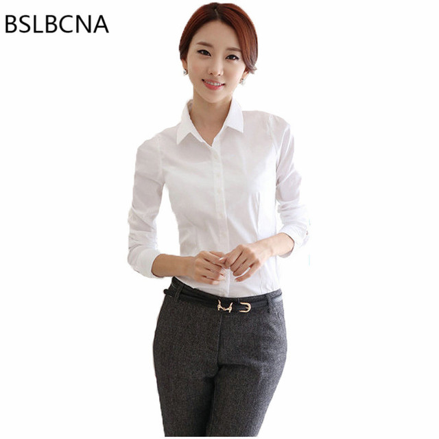 9da4415edf4 S-5XL OL Solid Color White Woman Shirt Korean Bodycon Plus Size Professional  Work Clothes Female Womens Tops And Blouses A95
