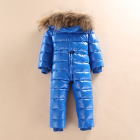 Epacket Infant Baby Girls and Boys Snowsuit Rompers Kids Hooded Jumpsuit Children Sparkle Winter Down One piece Fur Overalls