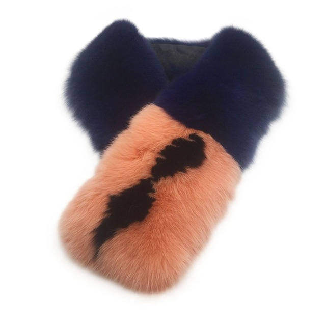 Fox Fur Blue Peach Scarf | Neck Scarves | Up to 60% Off Now