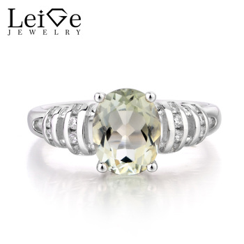 Leige Jewelry Natural Green Amethyst Ring Engagement Ring Oval Cut Green Gemstone Solid 925 Sterling Silver Ring Gifts for Women