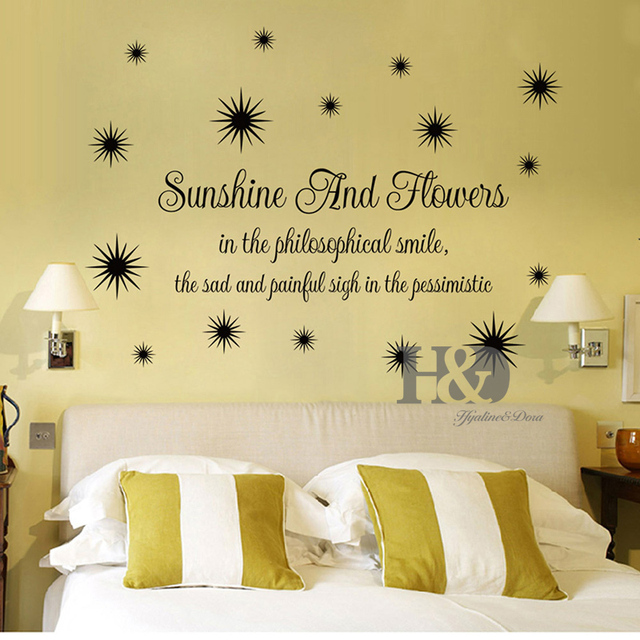 Sunshine and flowers Wall Art Quotes Decals decorative adesivo de ...
