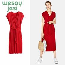 Dress women Sexy sashes sleeveless chic Beach Summer Dress Women 2019  Deep V Neck Red casual Midi Dresses цена