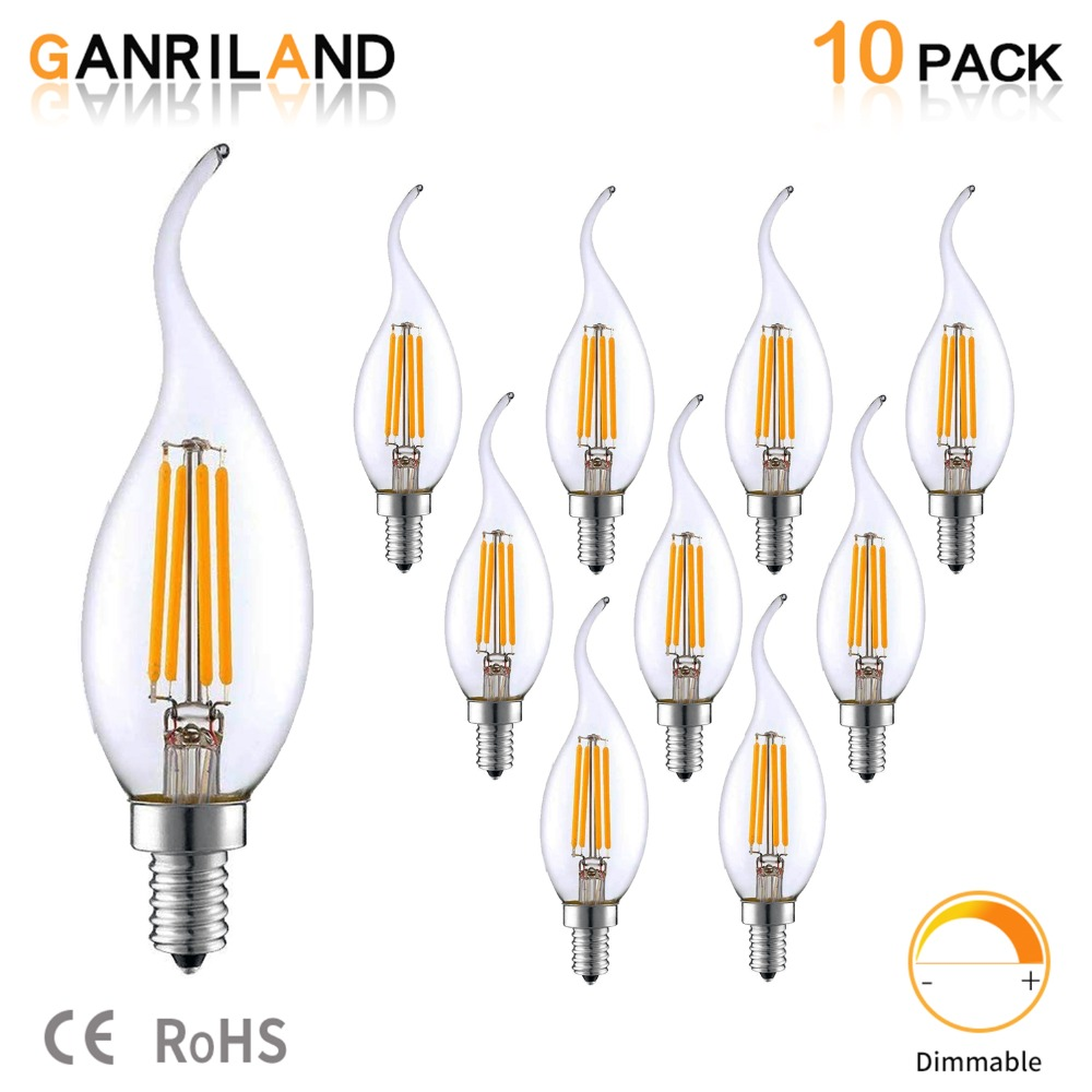 E14 220V LED Lamp C35 4W Dimmable LED Filament Candle Bulbs Candelabra Flame Bent Tip 35W Incandescent Equivalent Freeshipping