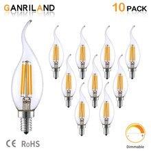 купить E14 220V LED Lamp C35 4W Dimmable LED Filament Candle Bulbs Candelabra Flame Bent Tip 35W Incandescent Equivalent freeshipping онлайн