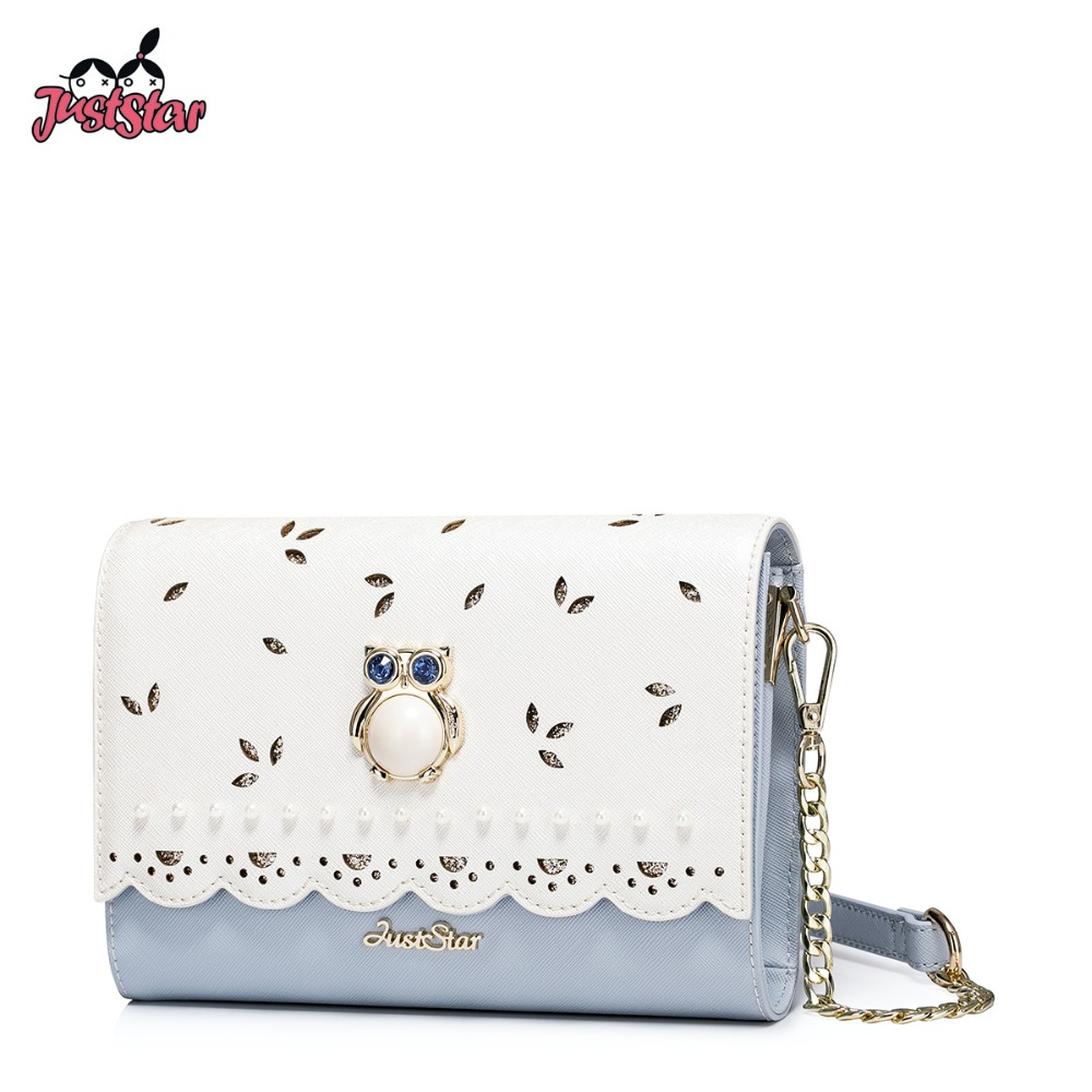 JUST STAR Women's PU Leather Messenger Bags Ladies Cartoon Owl Hollow Out Shoulder Purse Girl's Chain Flap Crossbody Bags JZ4482 just star women s pu leather messenger bags ladies embroidery shoulder purse female chain leisure whale crossbody bags jz4468